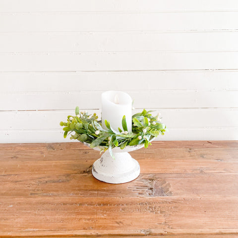Spring Greens and White Berry Candle Ring