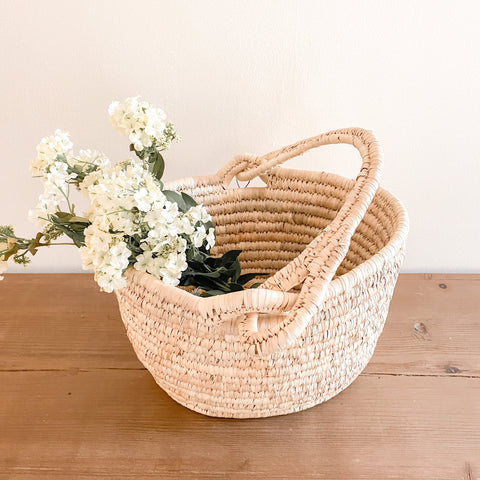 Woven Farmers Market Basket with Handle