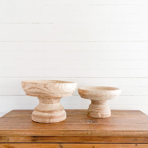 Turned Natural Wooden Compote 2 Sizes