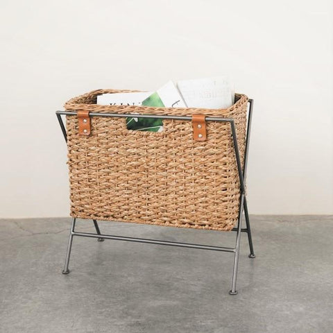 Woven Magazine Basket With Leather & Metal