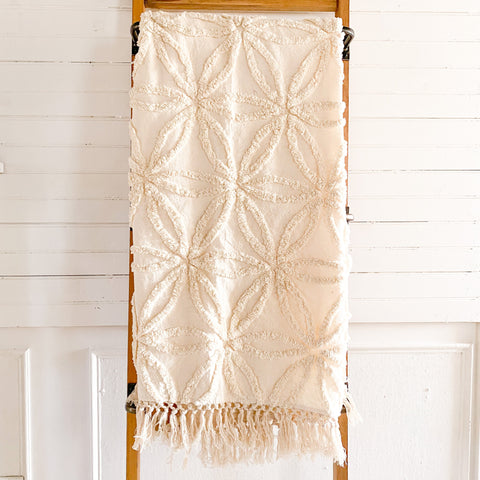 Lola Tufted Chenille Ivory Throw