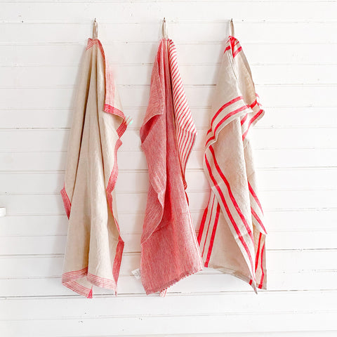 Linen Dish Towel in Red and Natural