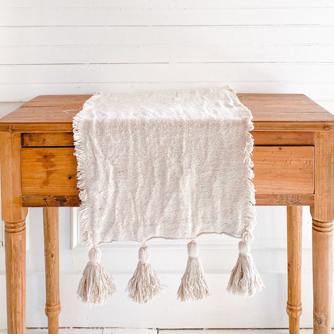 Ivory Woven Cotton Table Runner