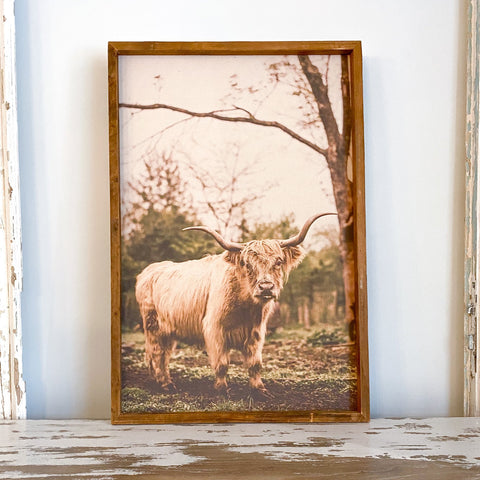 ELISE MEADER FRAMED NATURAL CANVAS HIGHLAND COW PRINT G6