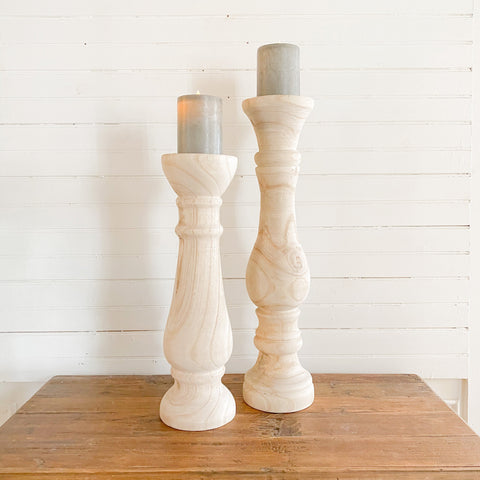 Hand Carved Wooden Candle Pillar Set