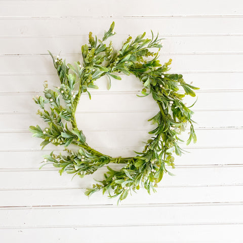 Spring Greens and White Berry Wreath