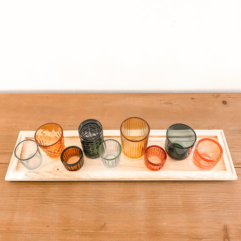 Embossed Glass Tealights on Wood Tray