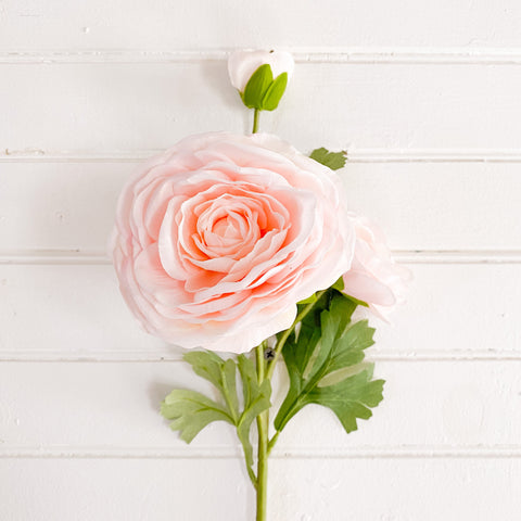 Real Touch Triple Bloom Peach Ranunculus Stem