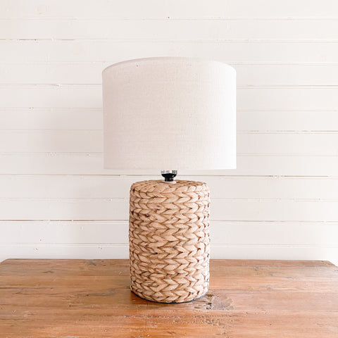 Seagrass Woven Concrete Lamp with White Shade
