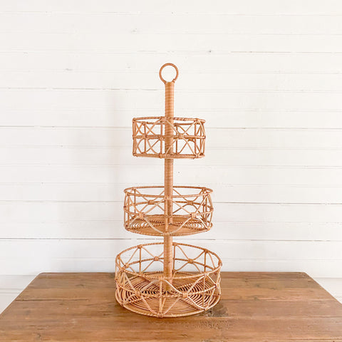 Hand Woven 3 Tiered Basket Tray