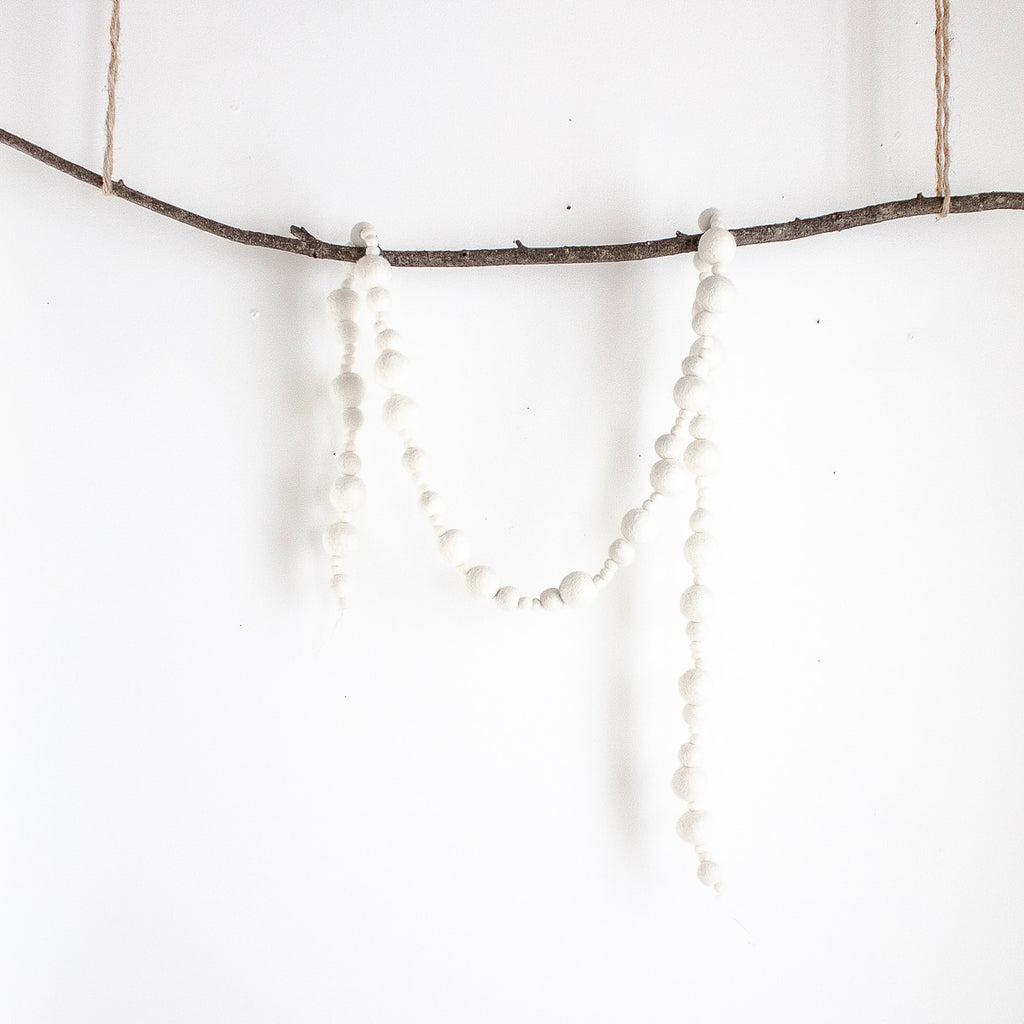 White Felt Ball Candy Garland