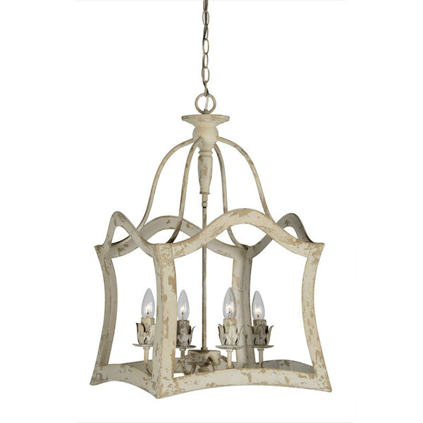 Aubrey Distressed White Metal Lantern Style Pendant