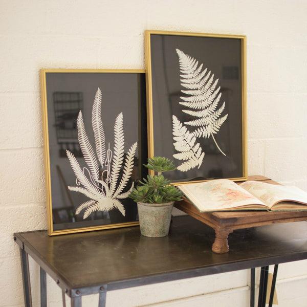 White Botanical Ferns on Black with Gold Frame Set/2