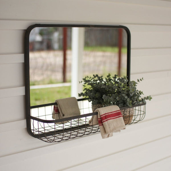 Georgia Black Mirror with Wire Basket Shelf