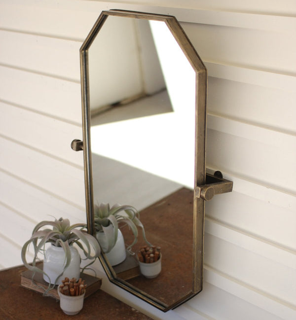 Evelyn Oblong Brassy Metal Adjustable Mirror