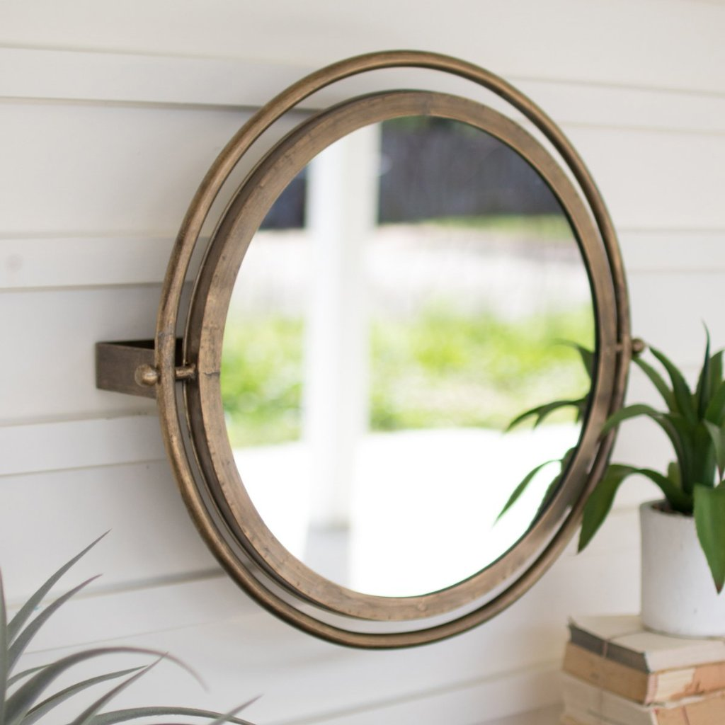 Stella Round Brassy Metal Adjustable Mirror