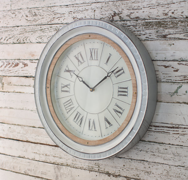 Alyssa Wood Trim White Enamel Wall Clock