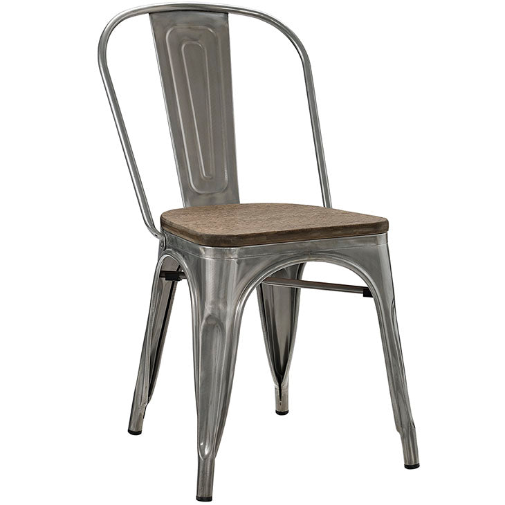 SIRA GUNMETAL BAMBOO & STEEL DINING SIDE CHAIR