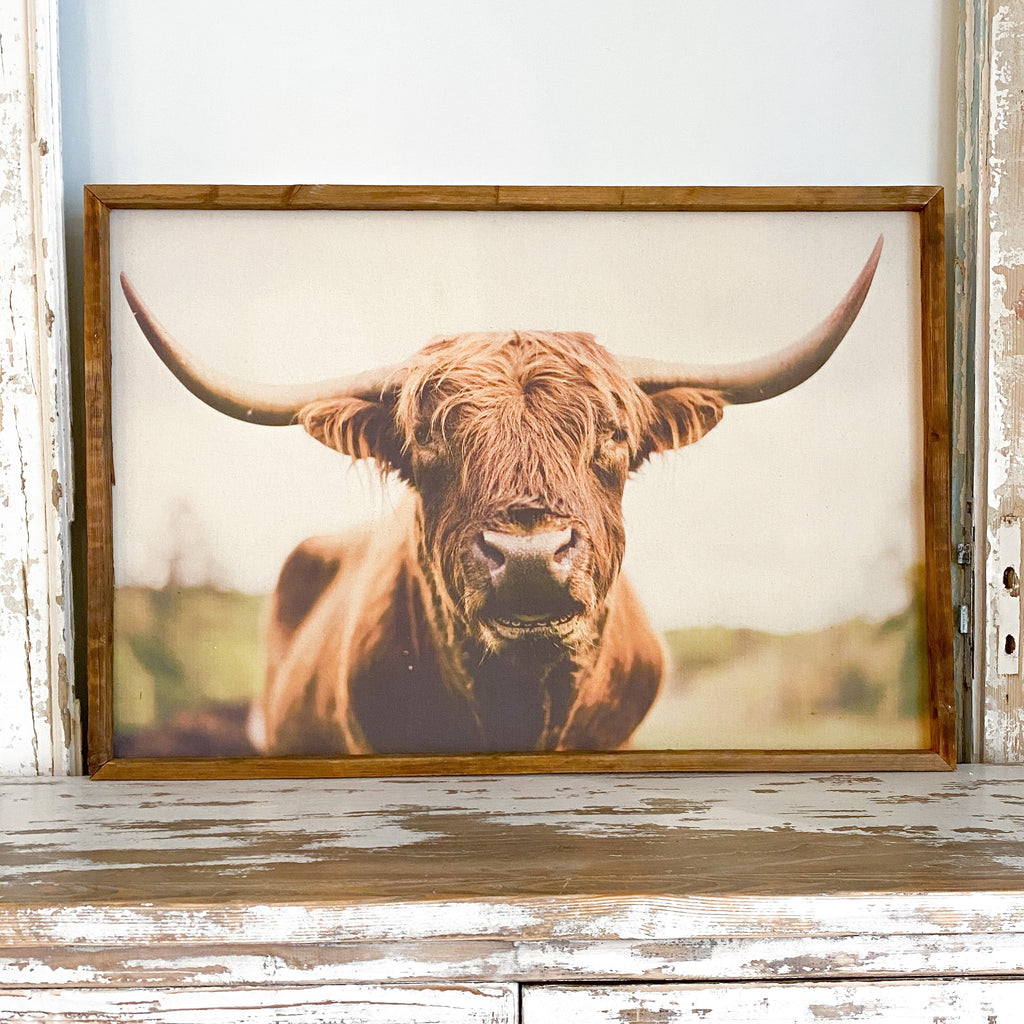 ELISE MEADER FRAMED NATURAL CANVAS HIGHLAND COW PRINT G3