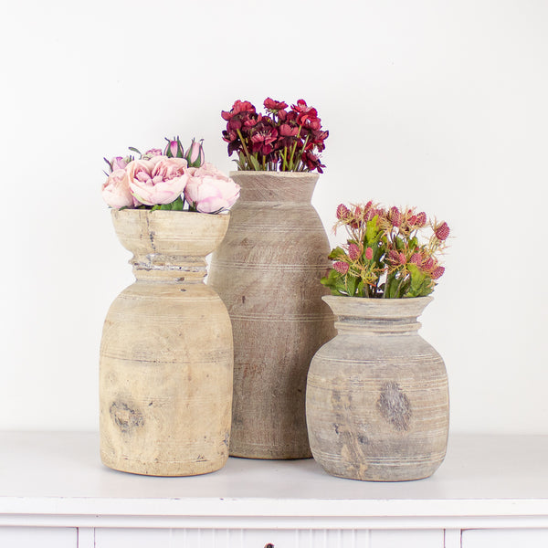 Kore Found Wooden Vases 3 Sizes