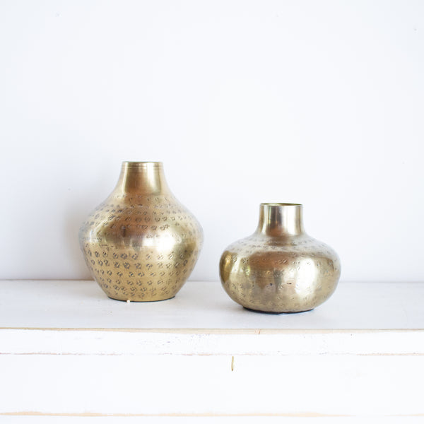 Antique Brass Metal Vase Set