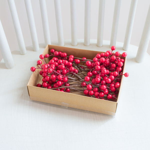 Box of Mini Waterproof Matte Red Berry Picks