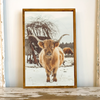ELISE MEADER FRAMED NATURAL CANVAS HIGHLAND COW PRINT S2