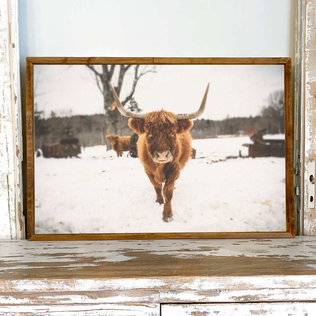 ELISE MEADER FRAMED NATURAL CANVAS HIGHLAND COW PRINT S1