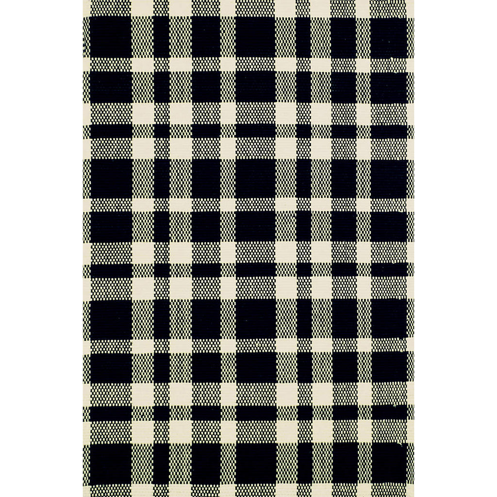 Madie Black Plaid Cotton Rug