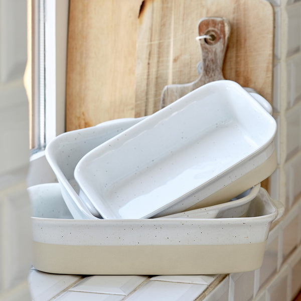 Farmhouse Collection Medium Stoneware Rectangular Baker White