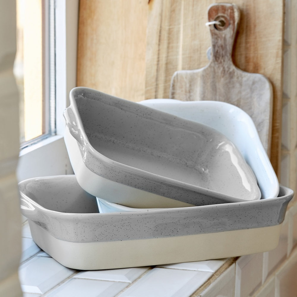 Farmhouse Collection Medium Stoneware Rectangular Baker Grey