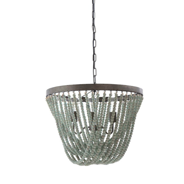 Clover Aqua Wood Bead Chandelier