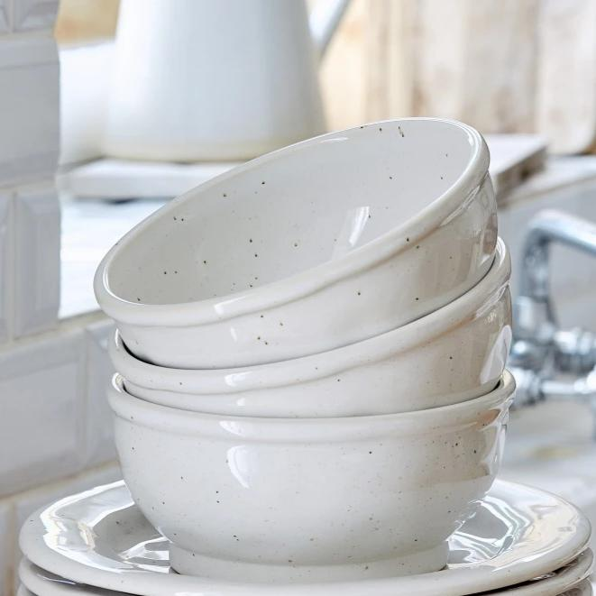 Farmhouse Collection Stoneware Soup/Cereal Bowl White Set of 6