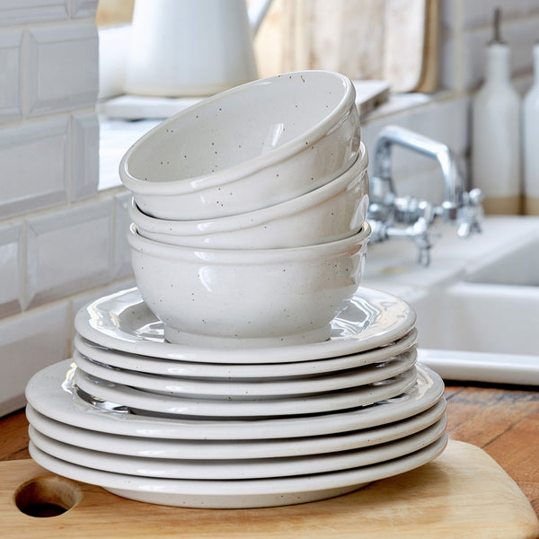 Farmhouse Collection Stoneware Salad Plate White Set of 6
