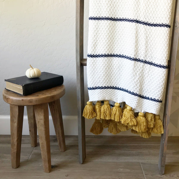 Jana Navy & Ivory Throw with Gold Tassels