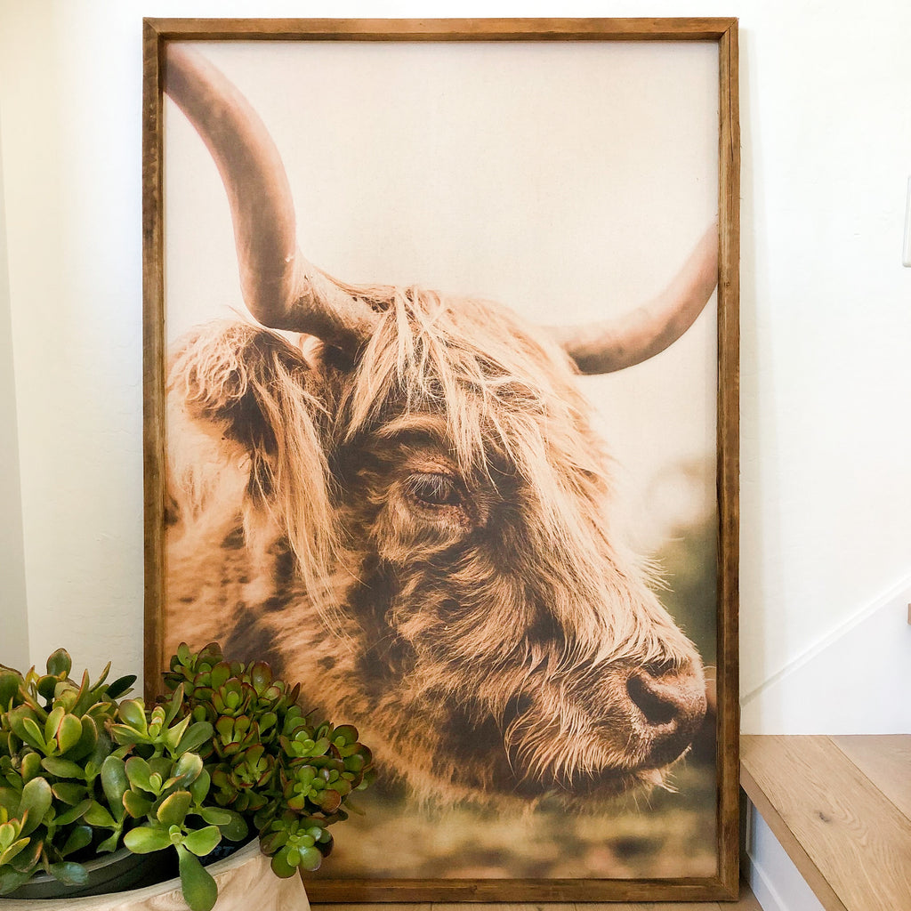 Elise Meader Framed Natural Canvas Highland Cow Print G4
