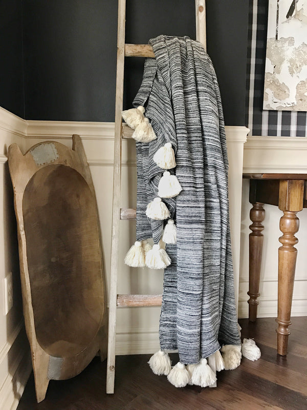 Benjamin Black & Ivory Throw with Ivory Tassels