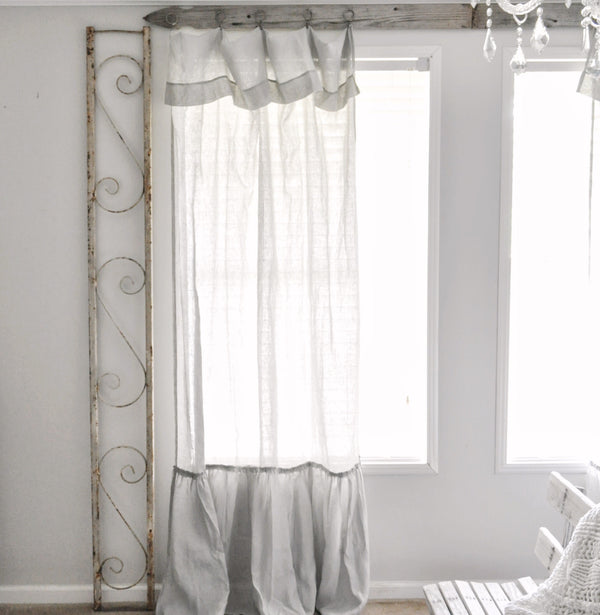Kati Jayde Linen Curtain with Bottom Ruffle in Gray