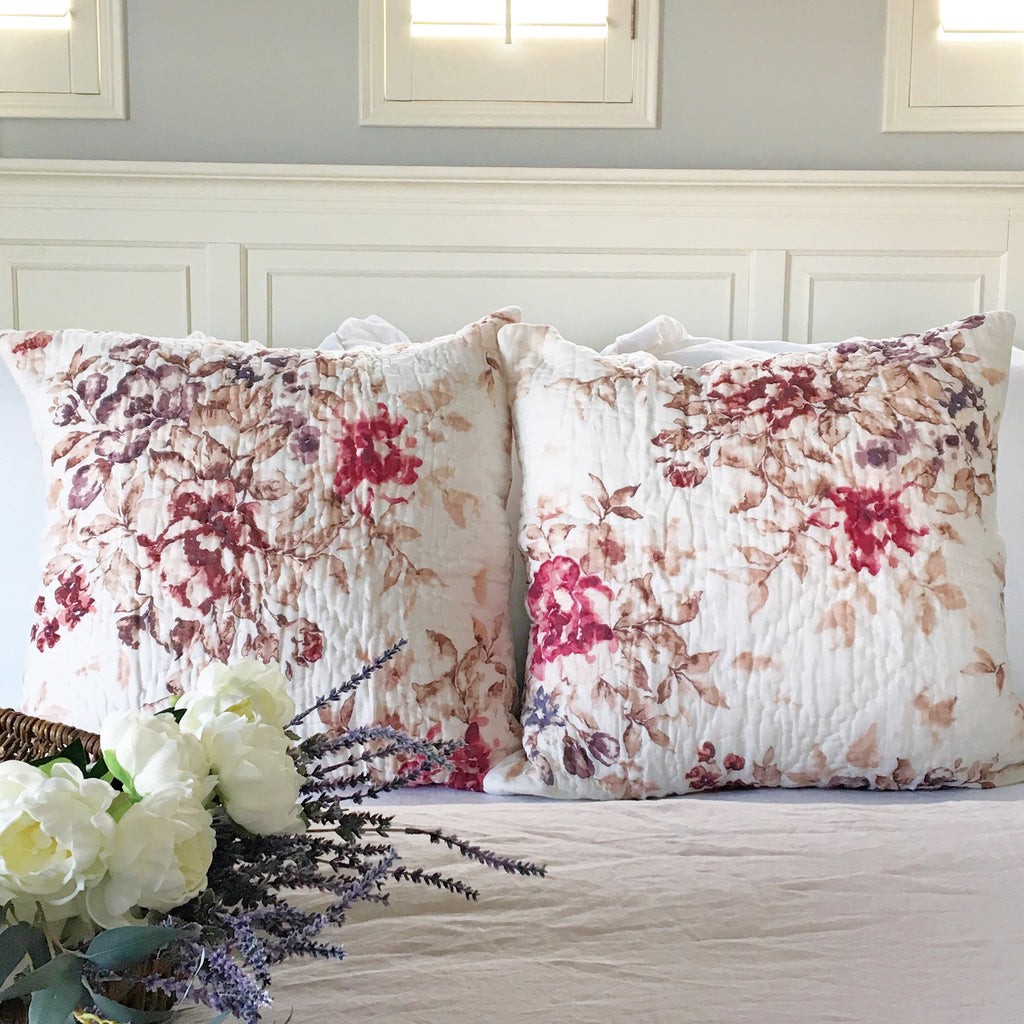 Florence Blush Floral Pillow Shams Purple Rose Home
