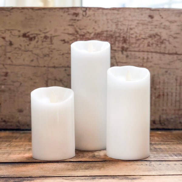 White Flameless Candle with Moving Flame