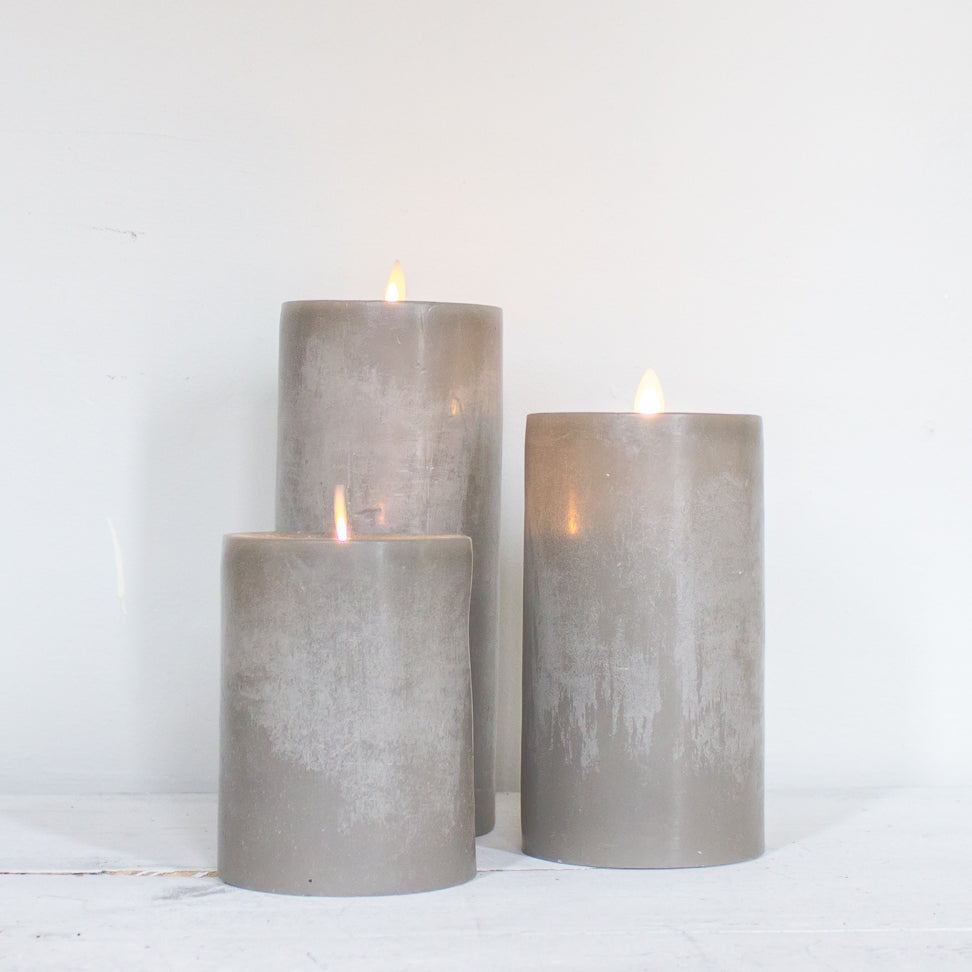 Flickering Gray Flameless Candles
