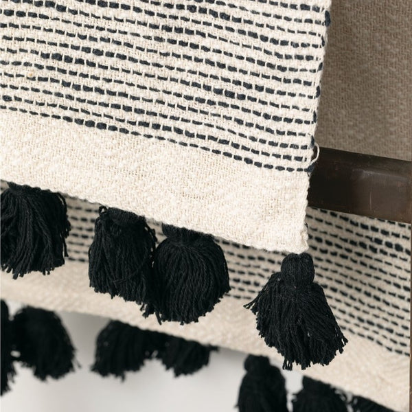 Avalon Stab Stitch Tassel Throw Black
