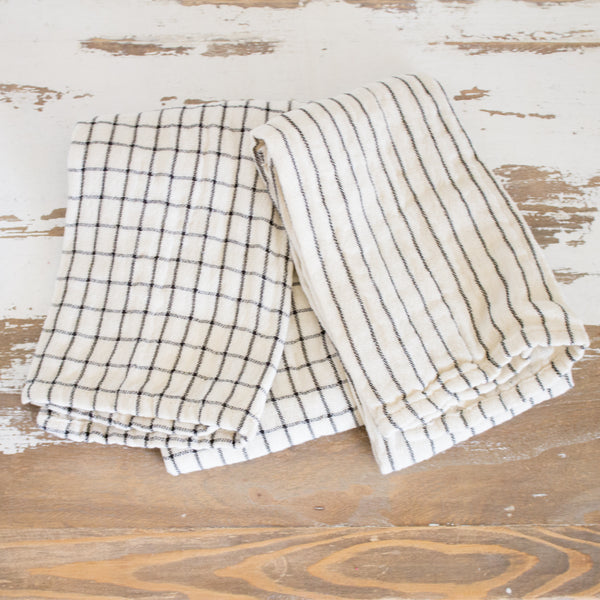 Xander Natural and Black Cotton Tea Towel Set