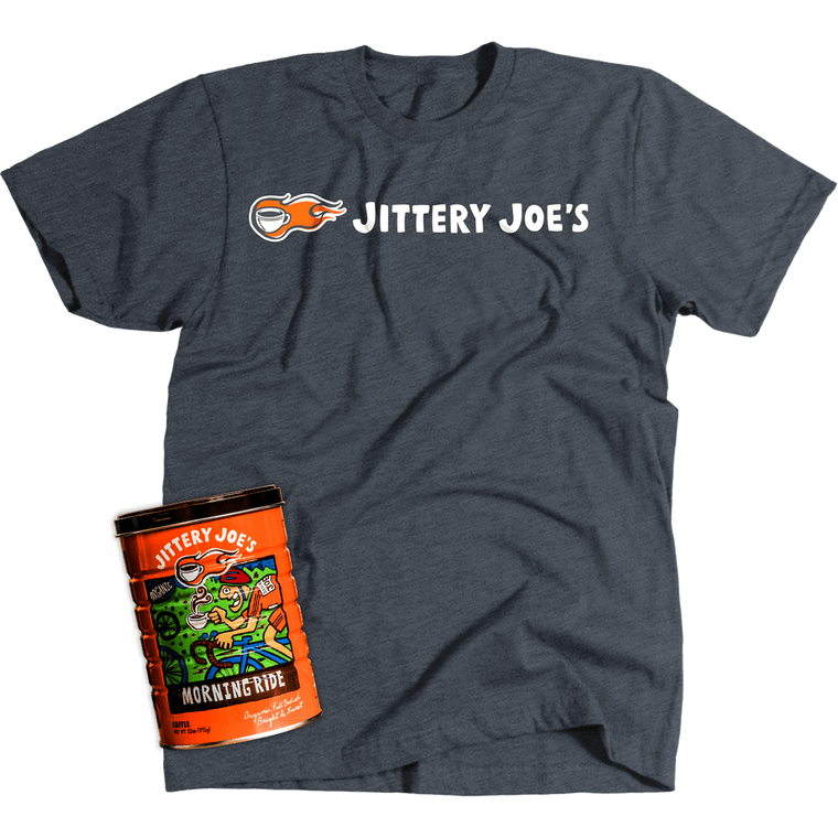 Jittery Joe's Logo T-Shirt and Morning Ride Combo Pack