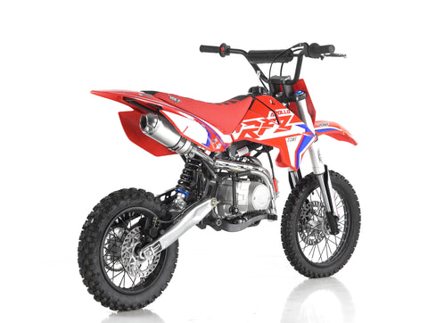 Apollo RFZ Start 110cc Dirt bike Motocross in RED rear angle from Venom