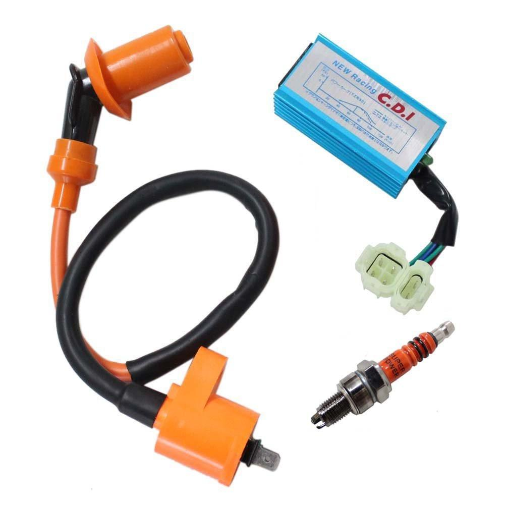 Pack of Racing Ignition Coil + 6-Pin Cdi Box + 3 Electrode Spark Plug