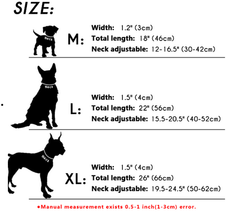 leather dog collar for large to extra large dogs size chart