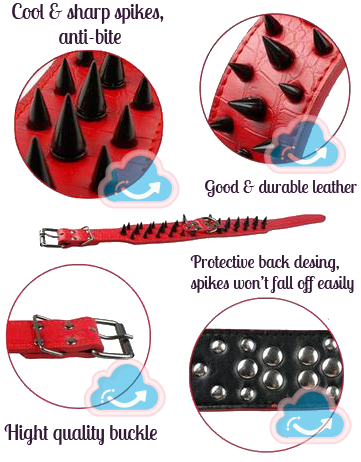 hand made spiked leather studded dogs collar in red, leather spiked dogs collar for pitbull, bulldog, mastiffs,