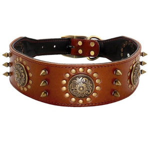 Roman Style Spiked Padded and Lined dogs collar for extra comfort and protection of your dogs neck, Genuine hand made leather dogs collar, brown leather dogs collar, black leather dogs collar, short spiked dog collar, leather dogs collar for pitbulls, bulldogs, medium and large leather dogs collar