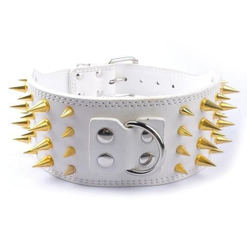 Jacuzzi, 3 inch Wide Spiked Studded Leather Dogs Collars